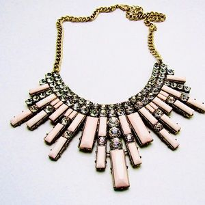 Sugar pink waterfall Art Deco necklace